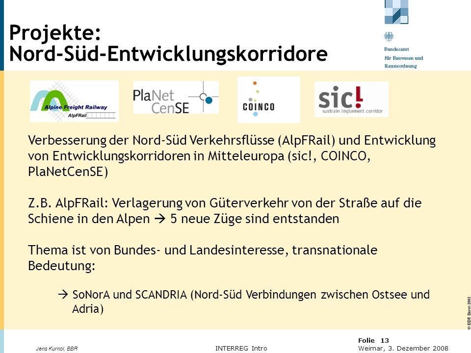© BBR Bonn 2003 Folie 13 Weimar, 3. Dezember 2008 Jens Kurnol, BBR INTERREG Intro Verbesserung der Nord-Süd Verkehrsflüsse (AlpFRail) und Entwicklung