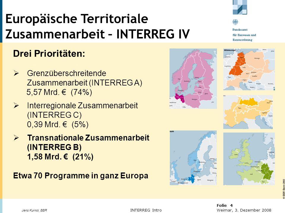 © BBR Bonn 2003 Folie 4 Weimar, 3. Dezember 2008 Jens Kurnol, BBR INTERREG Intro Europäische territoriale Zusammenarbeit Drei Prioritäten: Grenzübersc