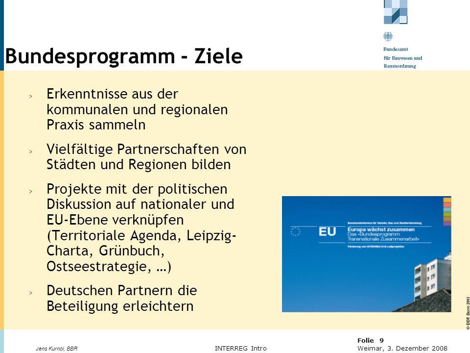 © BBR Bonn 2003 Folie 9 Weimar, 3. Dezember 2008 Jens Kurnol, BBR INTERREG Intro Bundesprogramm - Ziele > Erkenntnisse aus der kommunalen und regional