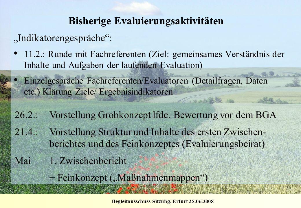 Begleitausschuss-Sitzung, Erfurt 25.06.2008 Bisherige Evaluierungsaktivitäten Indikatorengespräche: 11.2.: Runde mit Fachreferenten (Ziel: gemeinsames