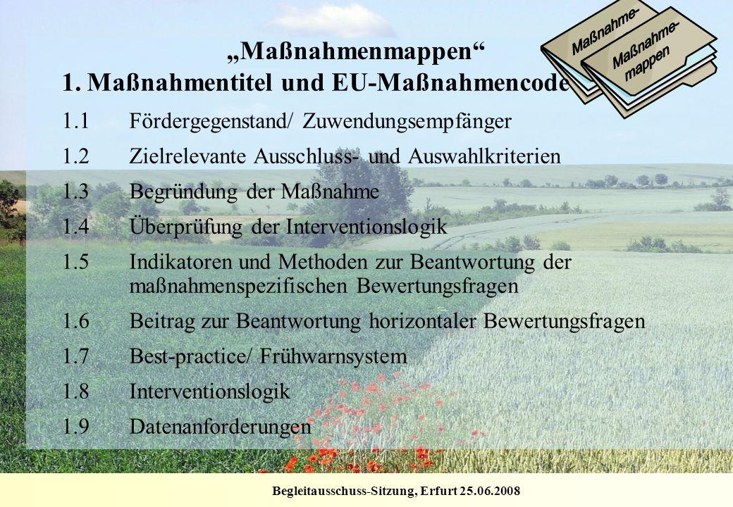 Begleitausschuss-Sitzung, Erfurt 25.06.2008 Maßnahmenmappen 1.Maßnahmentitel und EU-Maßnahmencode 1.1 Fördergegenstand/ Zuwendungsempfänger 1.2Zielrel