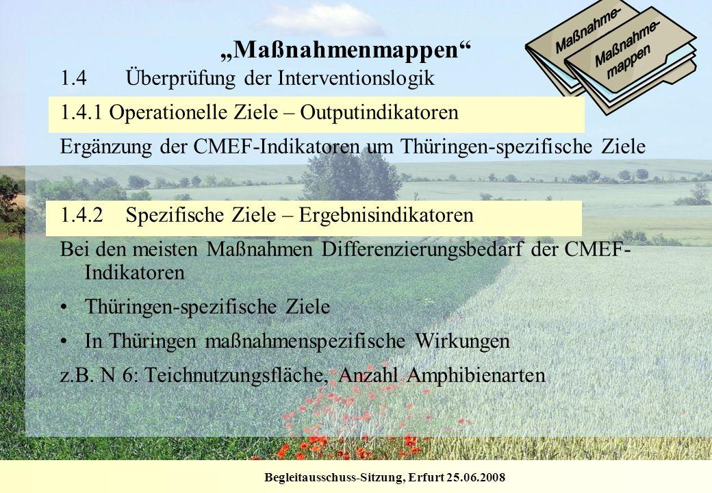 Begleitausschuss-Sitzung, Erfurt 25.06.2008 Maßnahmenmappen 1.4Überprüfung der Interventionslogik 1.4.1 Operationelle Ziele – Outputindikatoren Ergänz