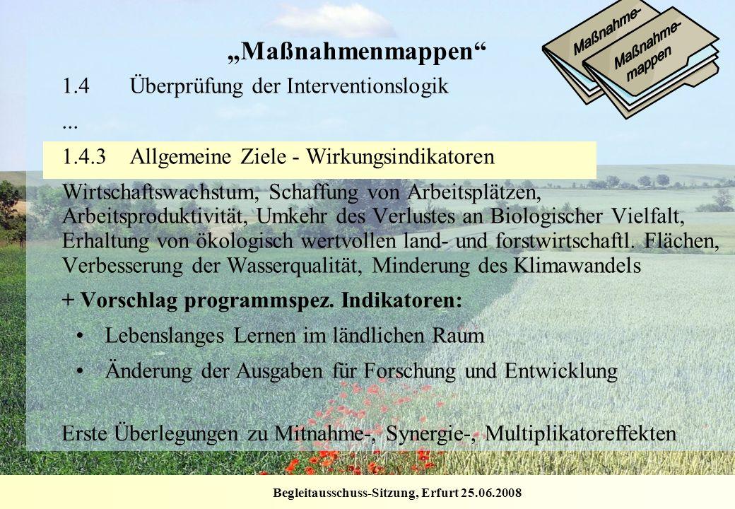 Begleitausschuss-Sitzung, Erfurt 25.06.2008 Maßnahmenmappen 1.4Überprüfung der Interventionslogik... 1.4.3Allgemeine Ziele - Wirkungsindikatoren Wirts