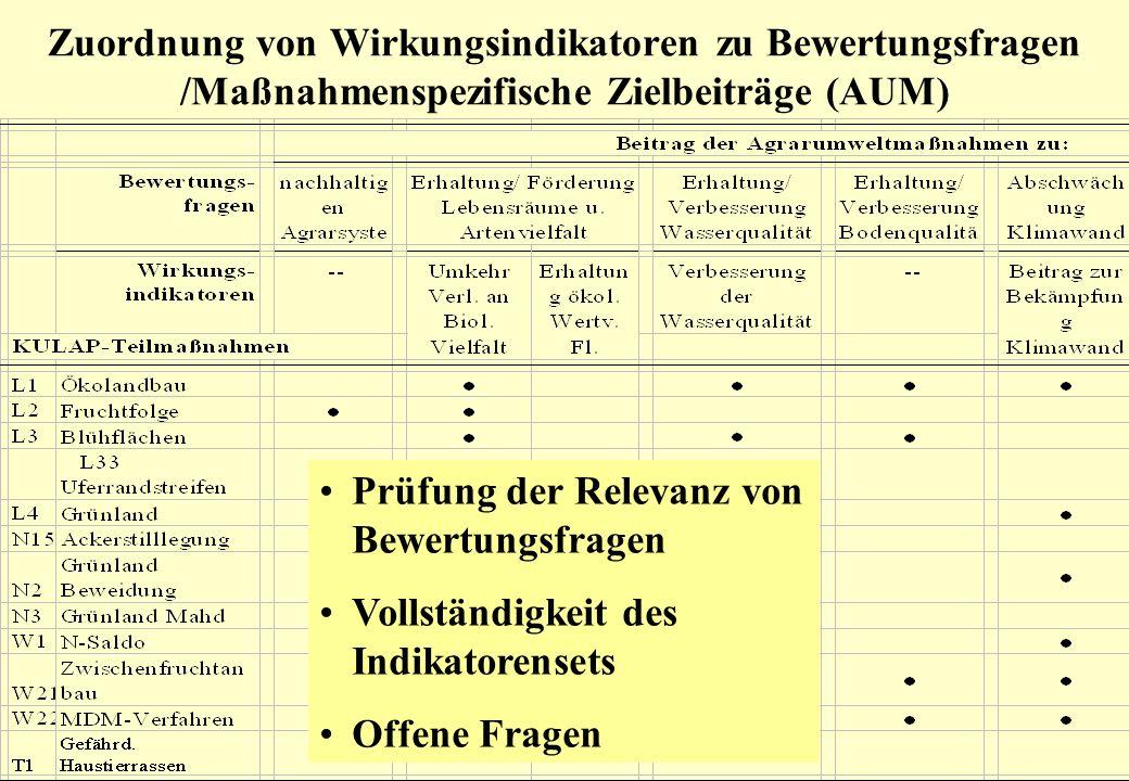 Begleitausschuss-Sitzung, Erfurt 25.06.2008 Zuordnung von Wirkungsindikatoren zu Bewertungsfragen /Maßnahmenspezifische Zielbeiträge (AUM) Prüfung der