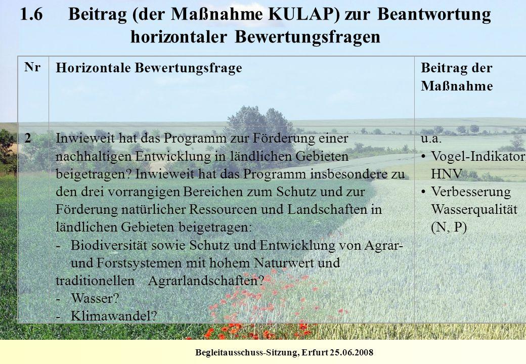 Begleitausschuss-Sitzung, Erfurt 25.06.2008 1.6 Beitrag (der Maßnahme KULAP) zur Beantwortung horizontaler Bewertungsfragen Nr Horizontale Bewertungsf