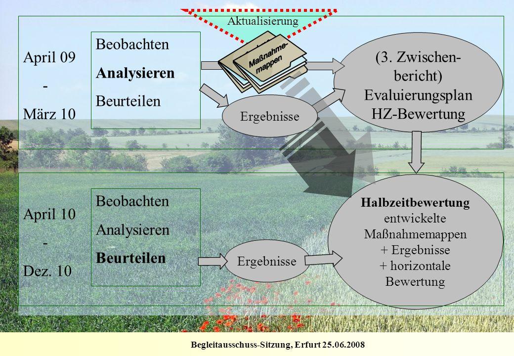 Begleitausschuss-Sitzung, Erfurt 25.06.2008 Aktualisierung Halbzeitbewertung entwickelte Maßnahmemappen + Ergebnisse + horizontale Bewertung Beobachte
