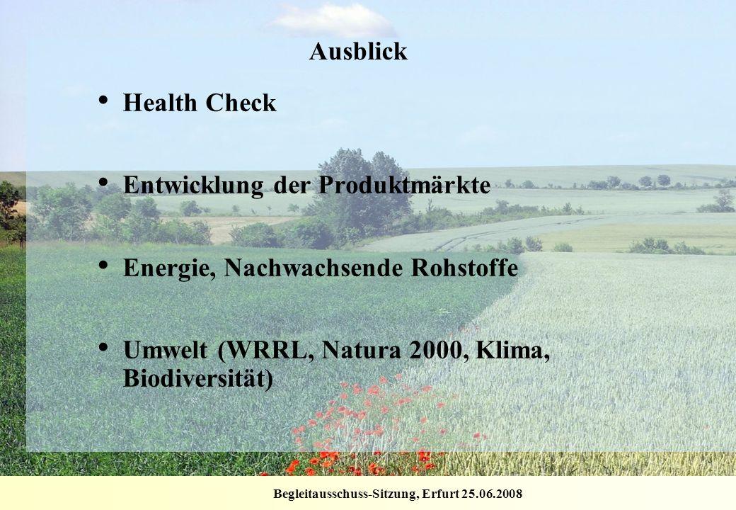 Begleitausschuss-Sitzung, Erfurt 25.06.2008 Ausblick Health Check Entwicklung der Produktmärkte Energie, Nachwachsende Rohstoffe Umwelt (WRRL, Natura