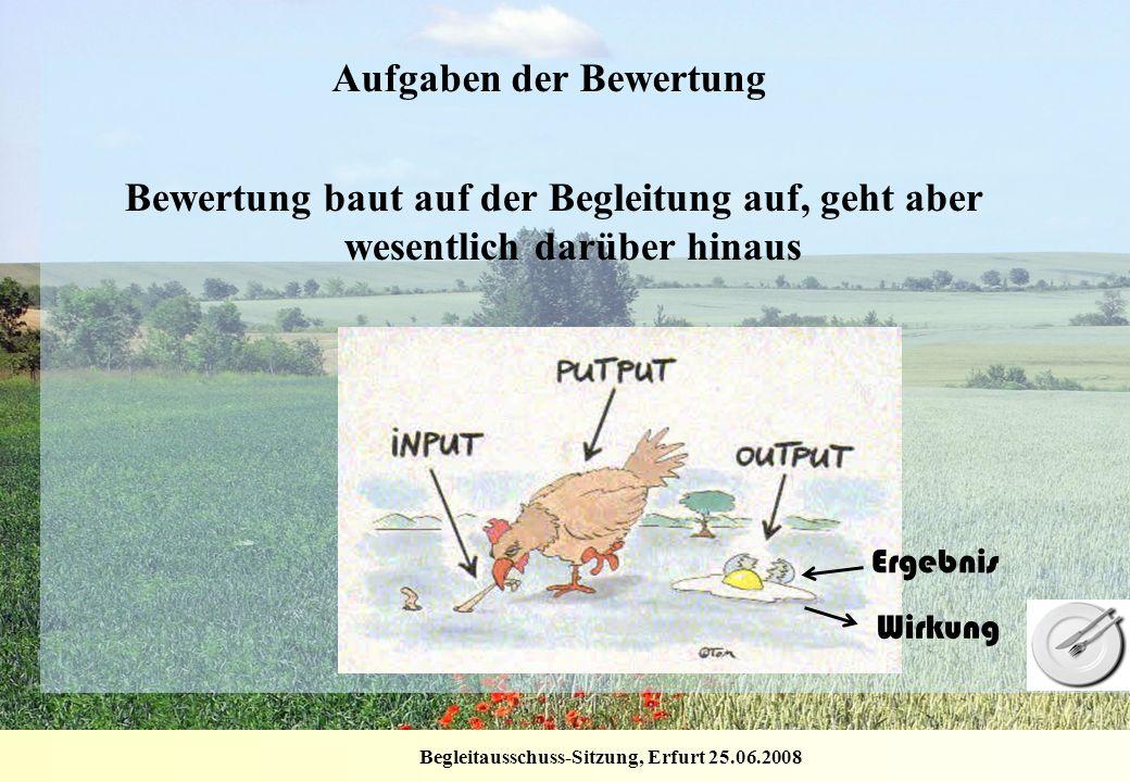 Begleitausschuss-Sitzung, Erfurt 25.06.2008 Aufgaben der Bewertung Bewertung baut auf der Begleitung auf, geht aber wesentlich darüber hinaus Ergebnis
