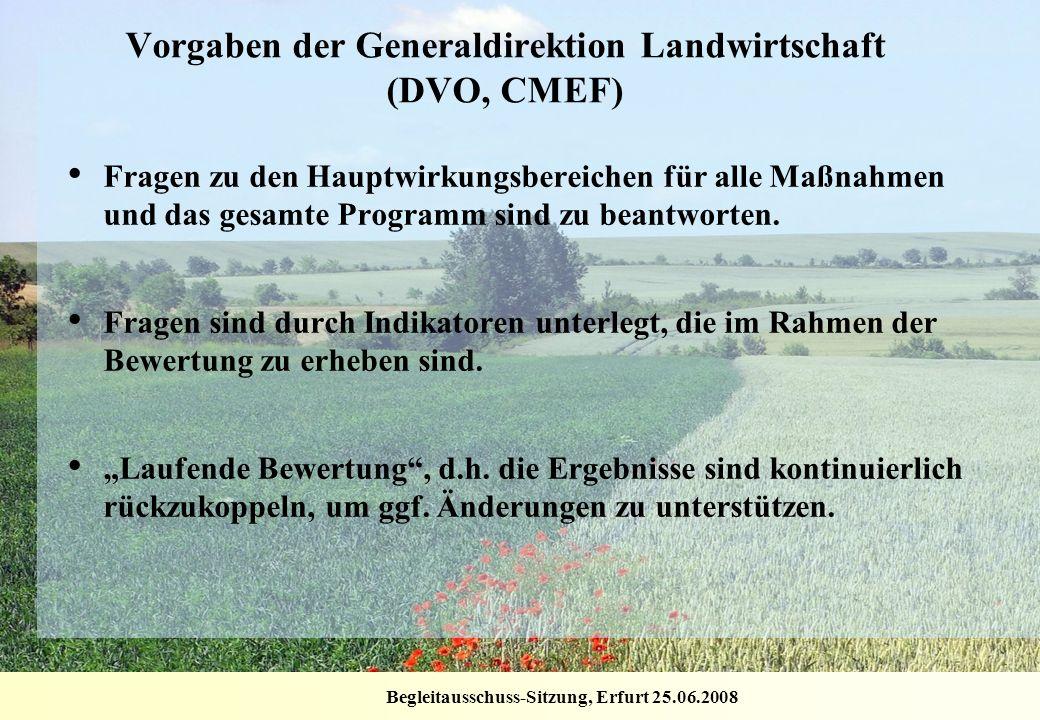 Begleitausschuss-Sitzung, Erfurt 25.06.2008 Vorgaben der Generaldirektion Landwirtschaft (DVO, CMEF) Fragen zu den Hauptwirkungsbereichen für alle Maß