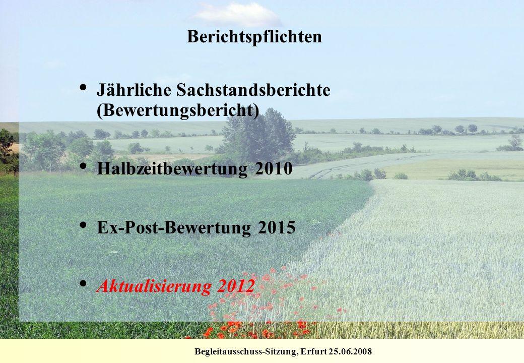 Begleitausschuss-Sitzung, Erfurt 25.06.2008 Berichtspflichten Jährliche Sachstandsberichte (Bewertungsbericht) Halbzeitbewertung 2010 Ex-Post-Bewertun
