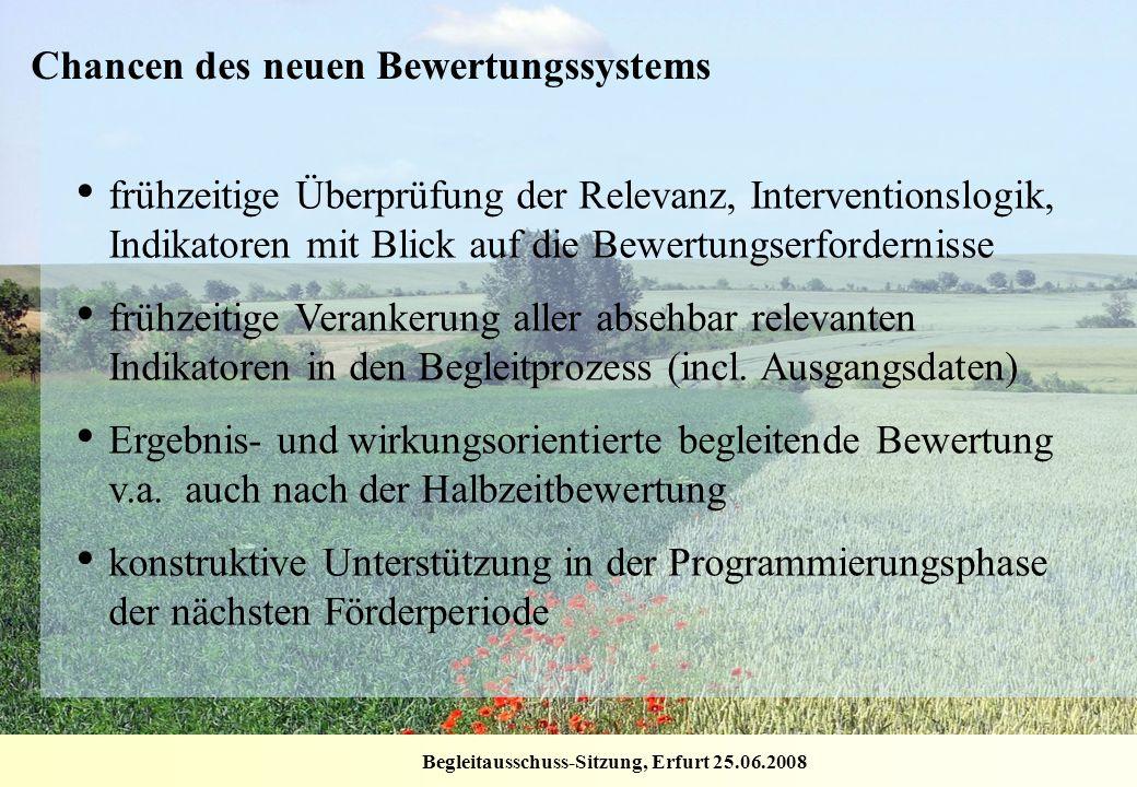 Begleitausschuss-Sitzung, Erfurt 25.06.2008 frühzeitige Überprüfung der Relevanz, Interventionslogik, Indikatoren mit Blick auf die Bewertungserforder