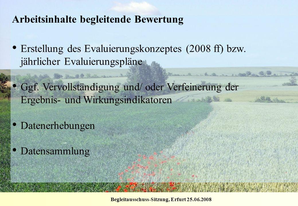 Begleitausschuss-Sitzung, Erfurt 25.06.2008 Arbeitsinhalte begleitende Bewertung Erstellung des Evaluierungskonzeptes (2008 ff) bzw. jährlicher Evalui