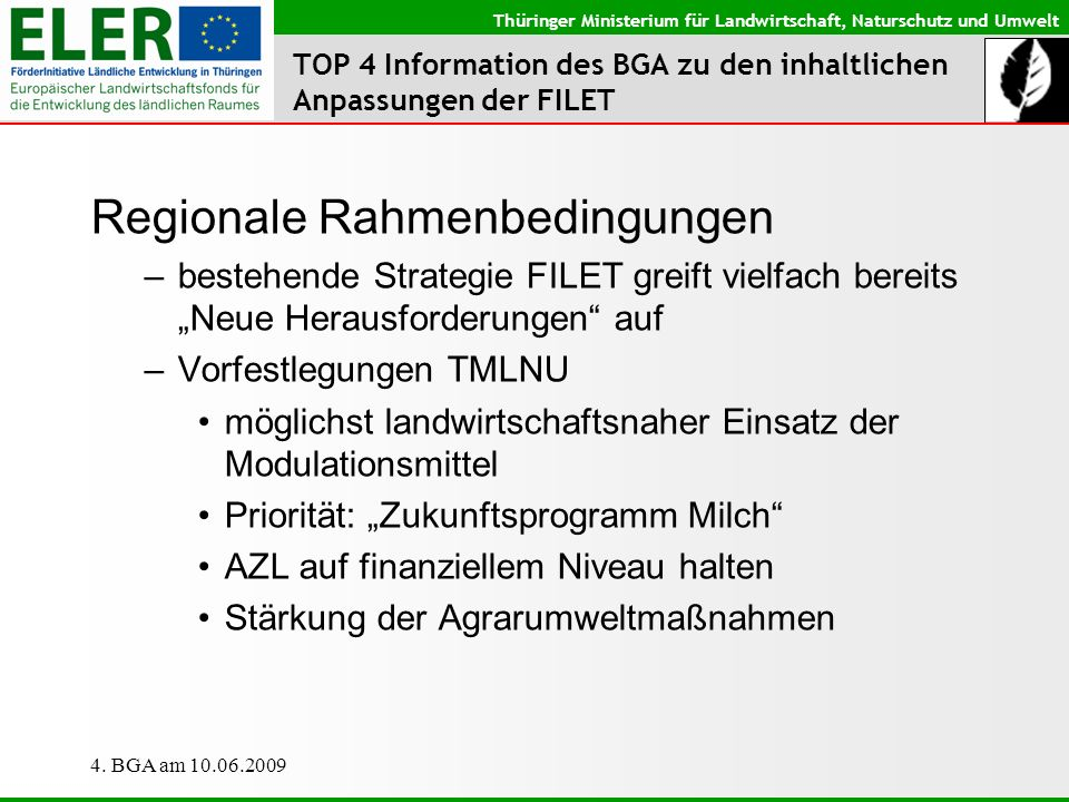 Thüringer Ministerium für Landwirtschaft, Naturschutz und Umwelt 4. BGA am 10.06.2009 TOP 4 Information des BGA zu den inhaltlichen Anpassungen der FI