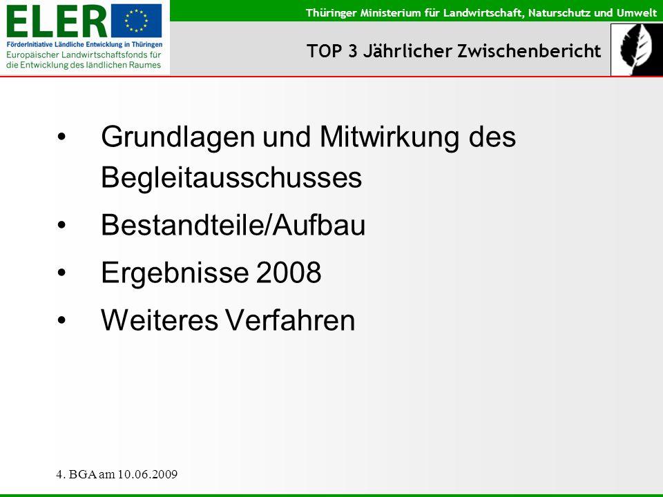 Thüringer Ministerium für Landwirtschaft, Naturschutz und Umwelt 4. BGA am 10.06.2009 TOP 3 Jährlicher Zwischenbericht Grundlagen und Mitwirkung des B