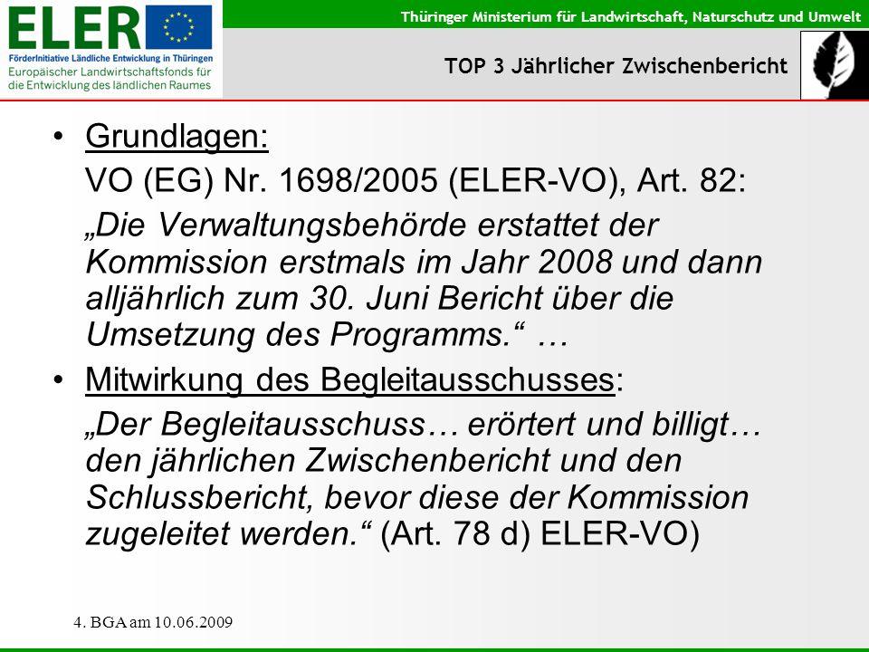 Thüringer Ministerium für Landwirtschaft, Naturschutz und Umwelt 4. BGA am 10.06.2009 TOP 3 Jährlicher Zwischenbericht Grundlagen: VO (EG) Nr. 1698/20