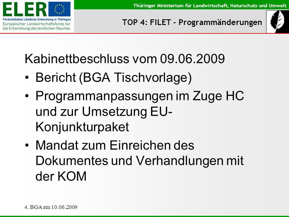 Thüringer Ministerium für Landwirtschaft, Naturschutz und Umwelt 4. BGA am 10.06.2009 TOP 4: FILET - Programmänderungen Kabinettbeschluss vom 09.06.20