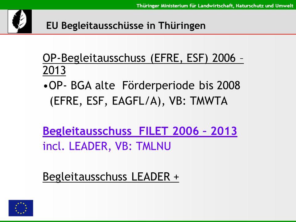 Thüringer Ministerium für Landwirtschaft, Naturschutz und Umwelt OP-Begleitausschuss (EFRE, ESF) 2006 – 2013 OP- BGA alte Förderperiode bis 2008 (EFRE, ESF, EAGFL/A), VB: TMWTA Begleitausschuss FILET 2006 – 2013 incl.