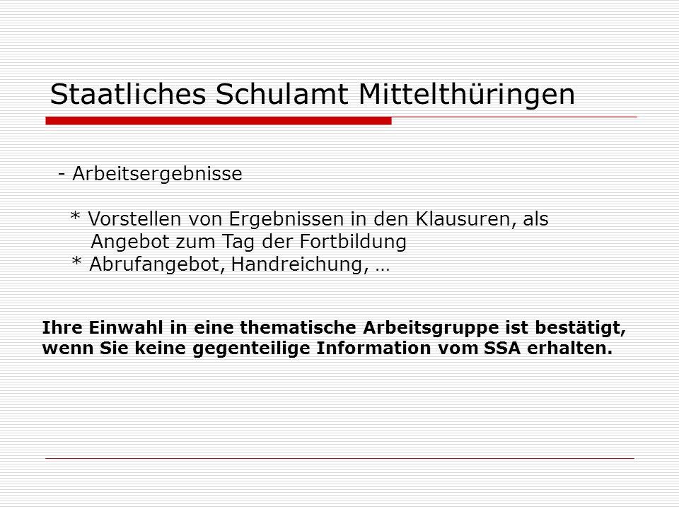 Staatliches Schulamt Mittelthüringen - Arbeitsergebnisse * Vorstellen von Ergebnissen in den Klausuren, als Angebot zum Tag der Fortbildung * Abrufang