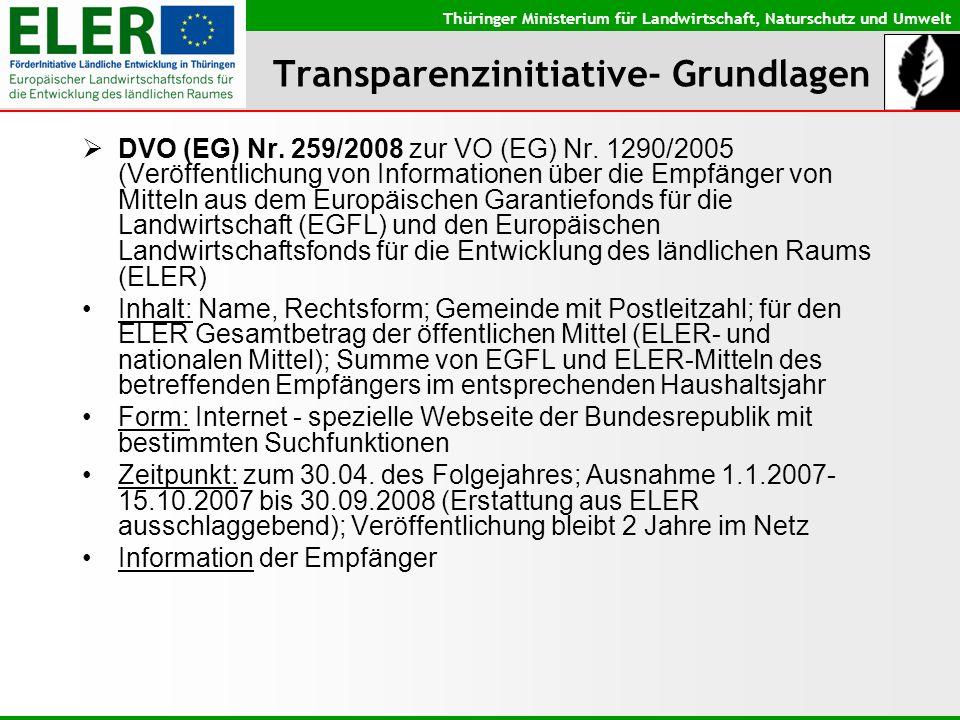 Thüringer Ministerium für Landwirtschaft, Naturschutz und Umwelt Transparenzinitiative- Grundlagen DVO (EG) Nr. 259/2008 zur VO (EG) Nr. 1290/2005 (Ve