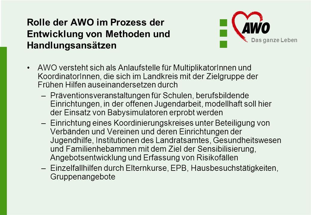 Das ganze Leben Rolle der AWO im Prozess der Entwicklung von Methoden und Handlungsansätzen AWO versteht sich als Anlaufstelle für MultiplikatorInnen