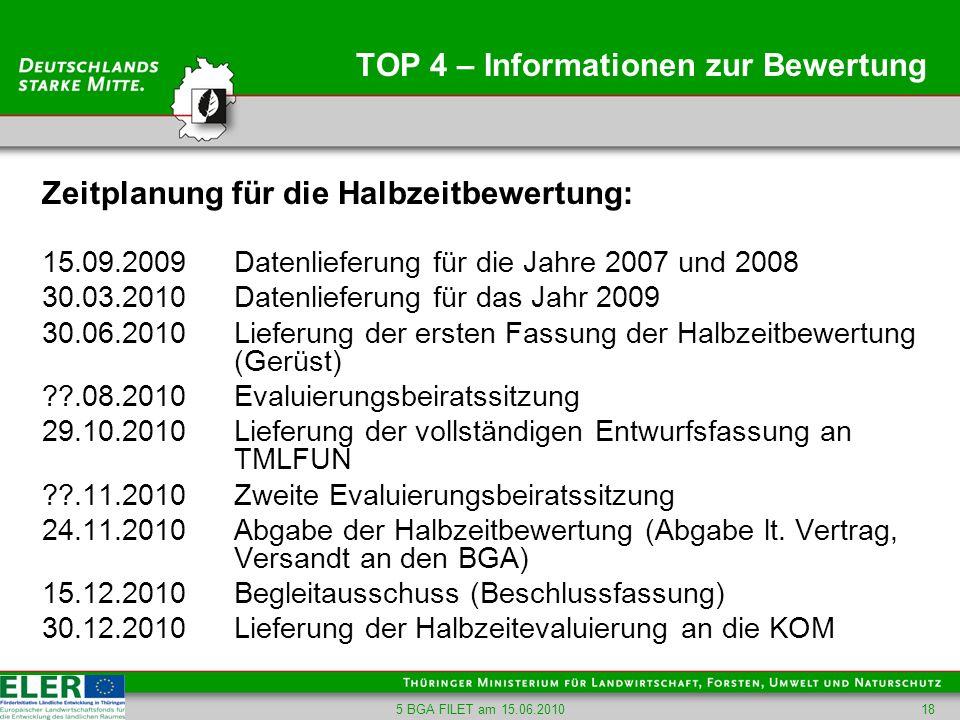 5 BGA FILET am 15.06.201018 TOP 4 – Informationen zur Bewertung Zeitplanung für die Halbzeitbewertung: 15.09.2009 Datenlieferung für die Jahre 2007 un