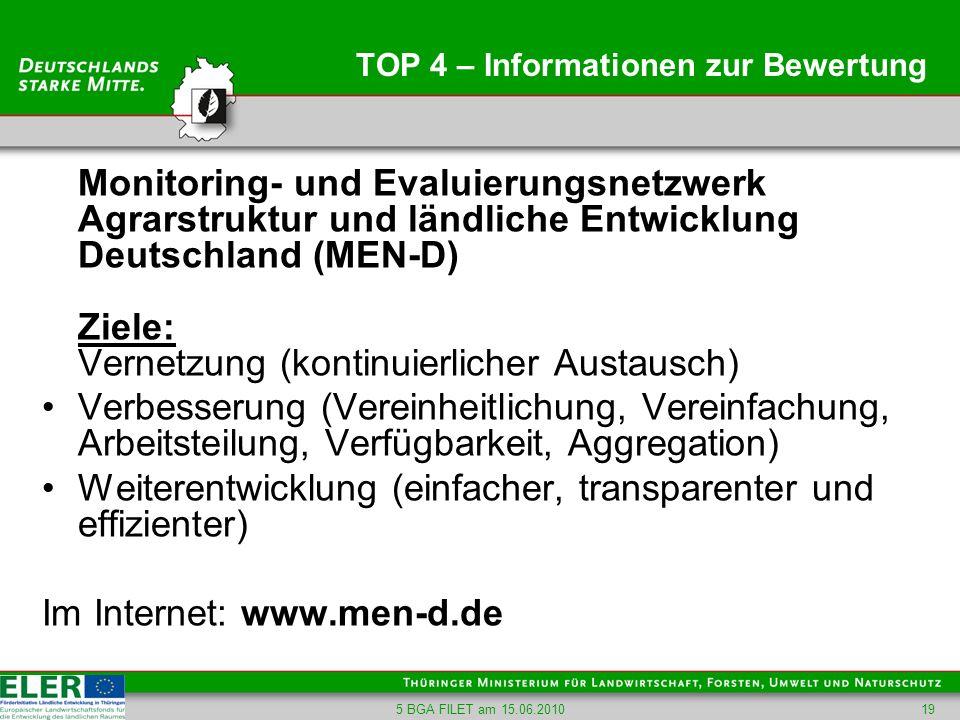 5 BGA FILET am 15.06.201019 TOP 4 – Informationen zur Bewertung Monitoring- und Evaluierungsnetzwerk Agrarstruktur und ländliche Entwicklung Deutschla