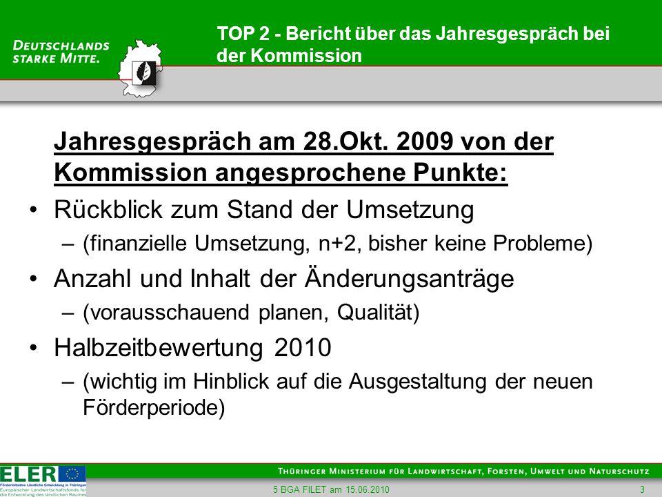 5 BGA FILET am 15.06.20103 TOP 2 - Bericht über das Jahresgespräch bei der Kommission Jahresgespräch am 28.Okt. 2009 von der Kommission angesprochene