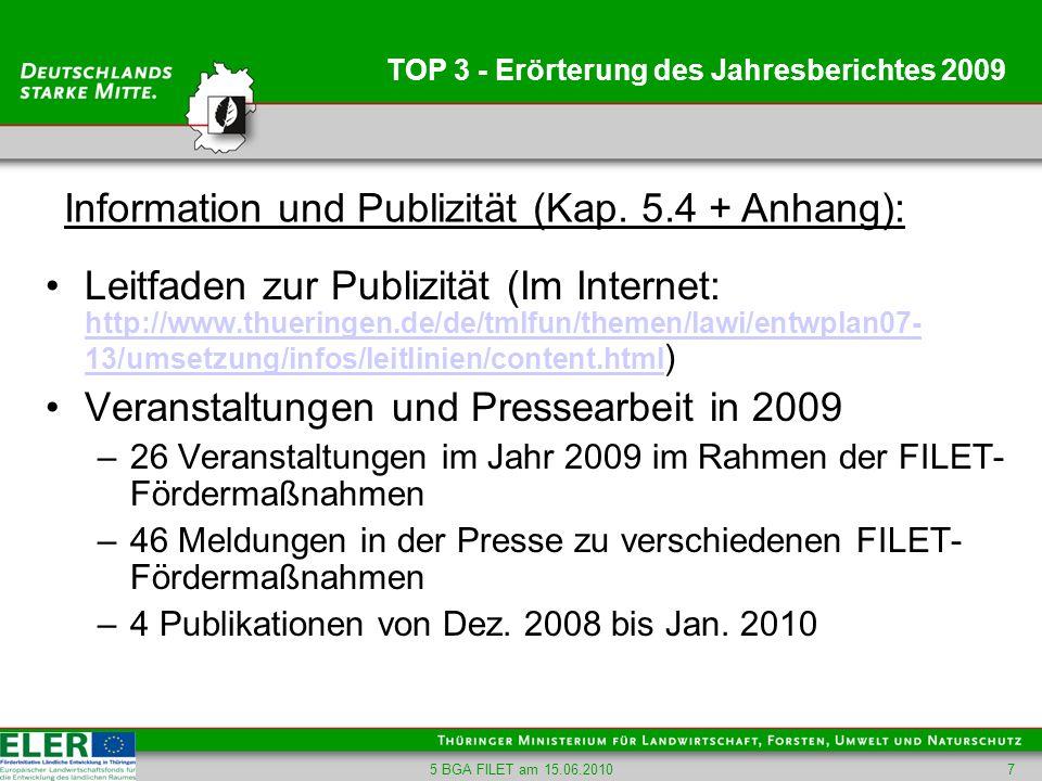 5 BGA FILET am 15.06.20107 TOP 3 - Erörterung des Jahresberichtes 2009 Leitfaden zur Publizität (Im Internet: http://www.thueringen.de/de/tmlfun/theme