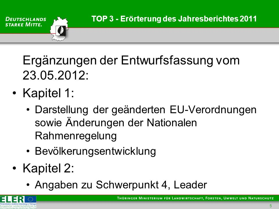 TOP 3 - Erörterung des Jahresberichtes 2011 Ergänzungen der Entwurfsfassung vom 23.05.2012: Kapitel 1: Darstellung der geänderten EU-Verordnungen sowie Änderungen der Nationalen Rahmenregelung Bevölkerungsentwicklung Kapitel 2: Angaben zu Schwerpunkt 4, Leader 5