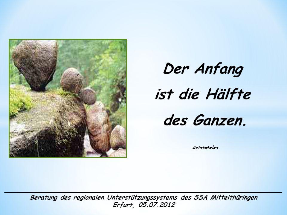 ______________________________________________________________________ Beratung des regionalen Unterstützungssystems des SSA Mittelthüringen Erfurt, 05.07.2012 Herzlich willkommen!