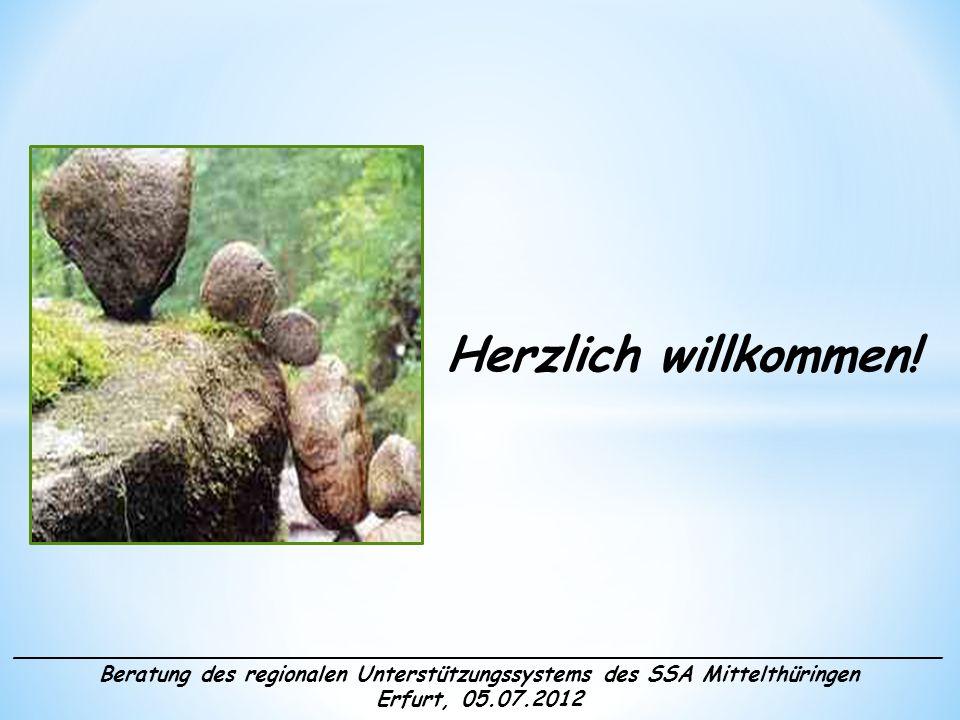 ______________________________________________________________________ Beratung des regionalen Unterstützungssystems des SSA Mittelthüringen Erfurt, 05.07.2012 Tagesplan: 09.00 Uhr - Begrüßung - Informationen zur neuen Schulamtsstruktur - Vorstellung der inhaltlichen Schwerpunkte der Arbeit - Eckpunkte der Zusammenarbeit im Unterstützungssystem anschl.