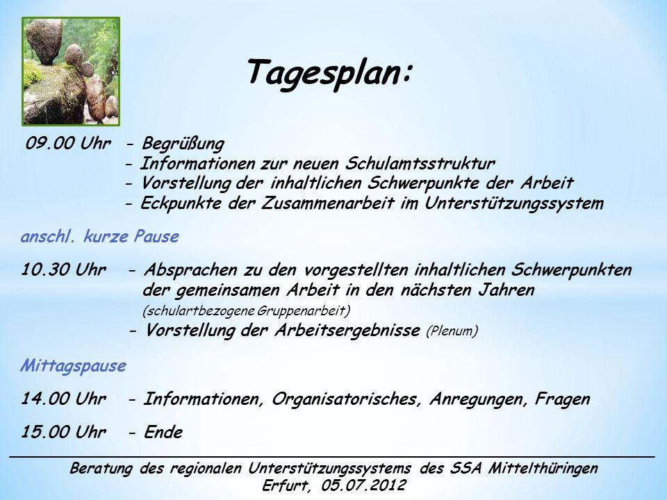 ______________________________________________________________________ Beratung des regionalen Unterstützungssystems des SSA Mittelthüringen Erfurt, 05.07.2012 Schwerpunkte der Zusammenarbeit Allgemeine Informationen Beratungstag: erster Donnerstag im Monat Jahresplanung Terminleiste Homepage des Schulamtes
