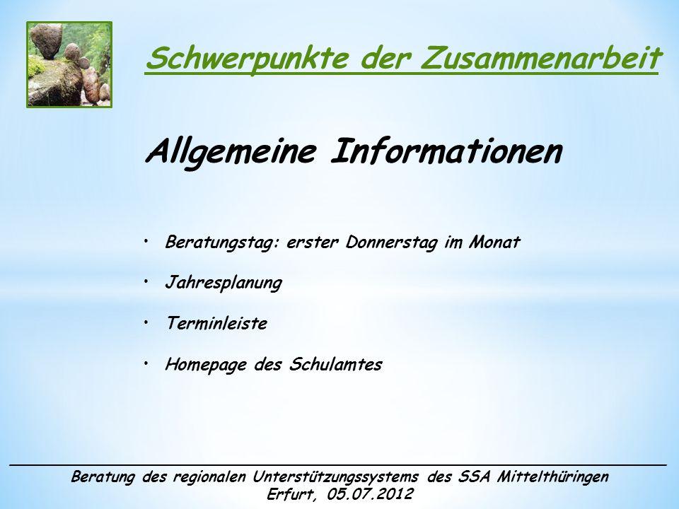 ______________________________________________________________________ Beratung des regionalen Unterstützungssystems des SSA Mittelthüringen Erfurt, 05.07.2012 Schwerpunkte der Zusammenarbeit Fortbildungsangebote durch Berater/-innen in der Vorbereitungswoche Weshalb.
