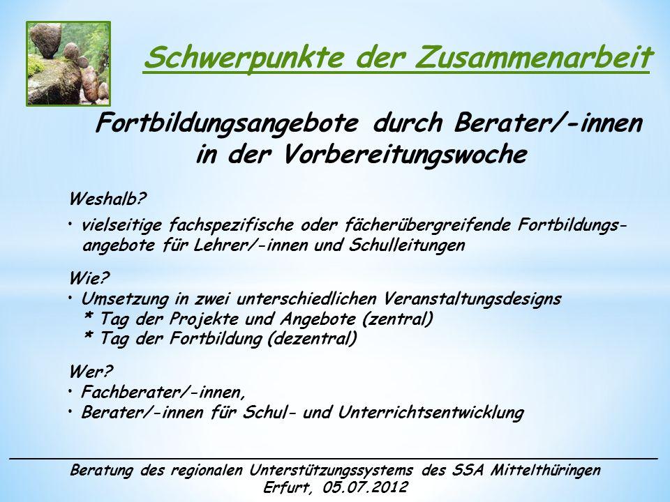 ______________________________________________________________________ Beratung des regionalen Unterstützungssystems des SSA Mittelthüringen Erfurt, 05.07.2012 Schwerpunkte der Zusammenarbeit Klausurtagung Weshalb.