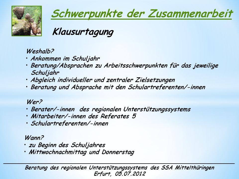______________________________________________________________________ Beratung des regionalen Unterstützungssystems des SSA Mittelthüringen Erfurt, 05.07.2012 Schwerpunkte der Zusammenarbeit Arbeitsberatungen Weshalb.