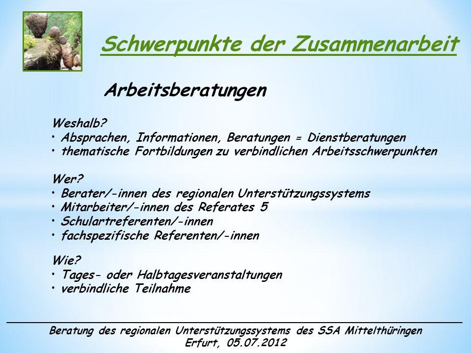 ______________________________________________________________________ Beratung des regionalen Unterstützungssystems des SSA Mittelthüringen Erfurt, 05.07.2012 Schwerpunkte der Zusammenarbeit Thematische Arbeitsgruppen Weshalb.