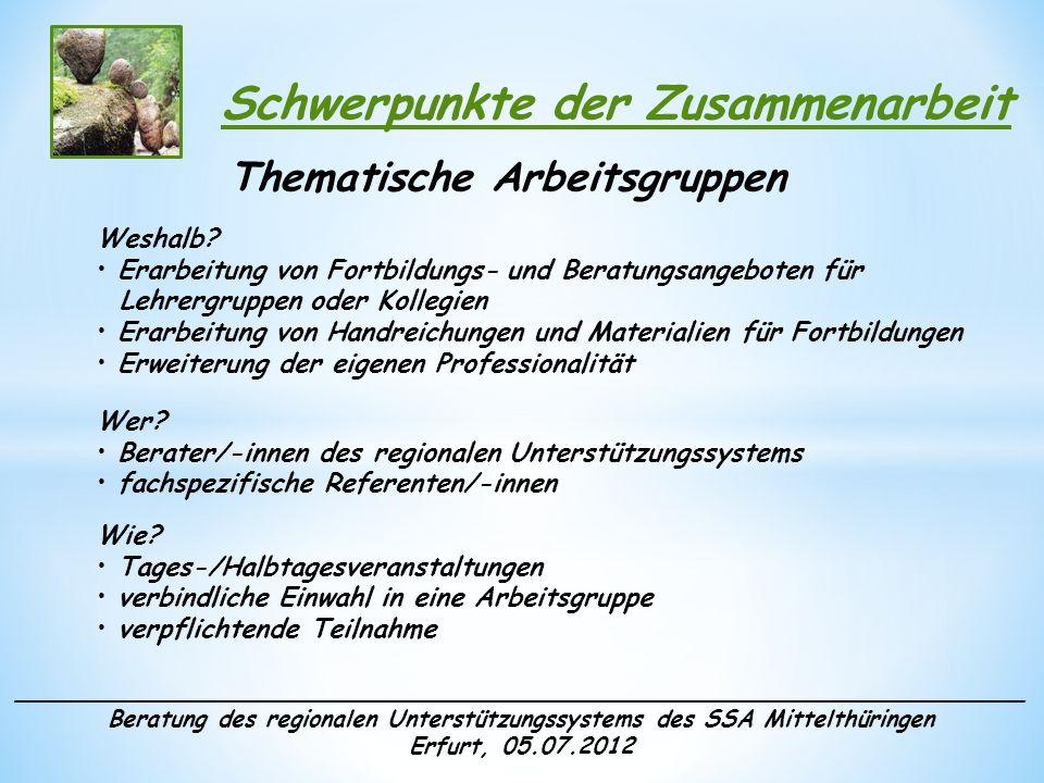 ______________________________________________________________________ Beratung des regionalen Unterstützungssystems des SSA Mittelthüringen Erfurt, 05.07.2012 Schwerpunkte der Zusammenarbeit Qualifizierungsangebote Weshalb.