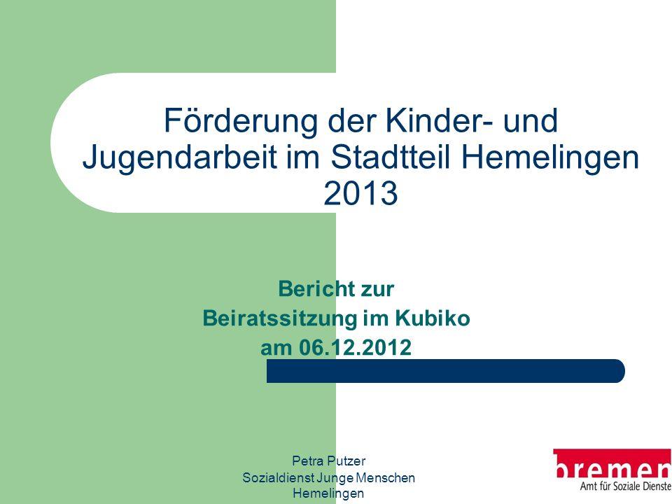 Förderung der Kinder- und Jugendarbeit im Stadtteil Hemelingen 2013 Bericht zur Beiratssitzung im Kubiko am 06.12.2012 Petra Putzer Sozialdienst Junge