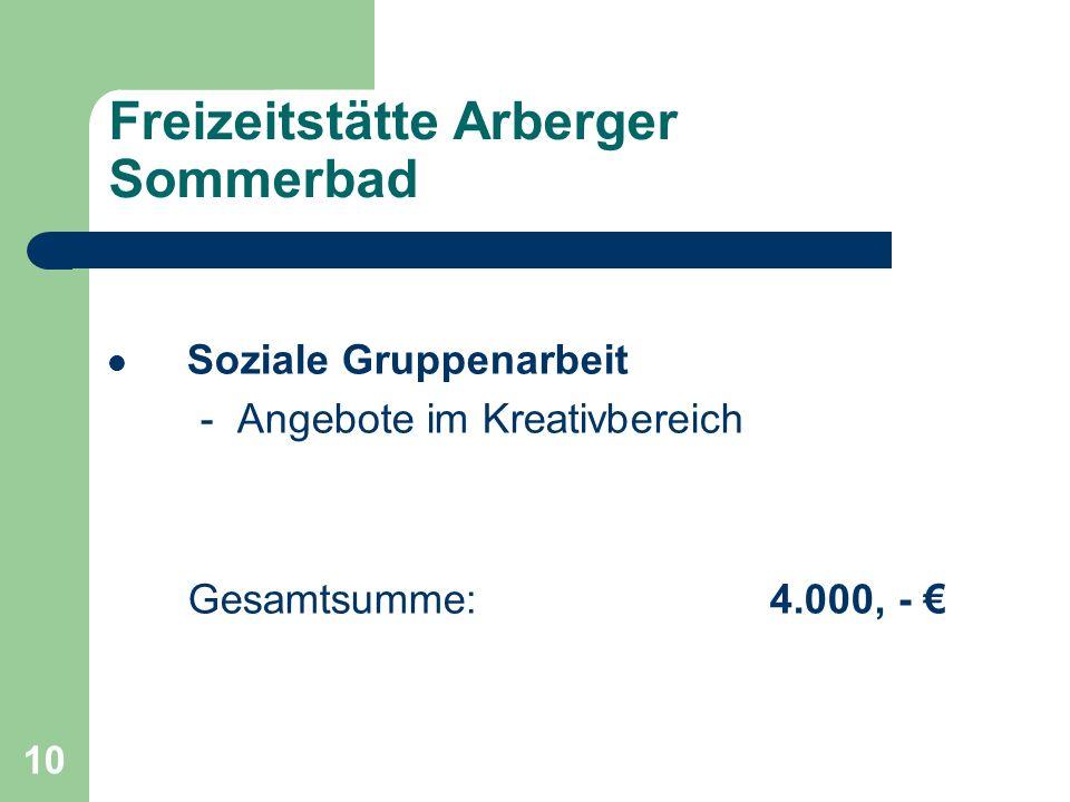 10 Freizeitstätte Arberger Sommerbad Soziale Gruppenarbeit - Angebote im Kreativbereich Gesamtsumme: 4.000, -