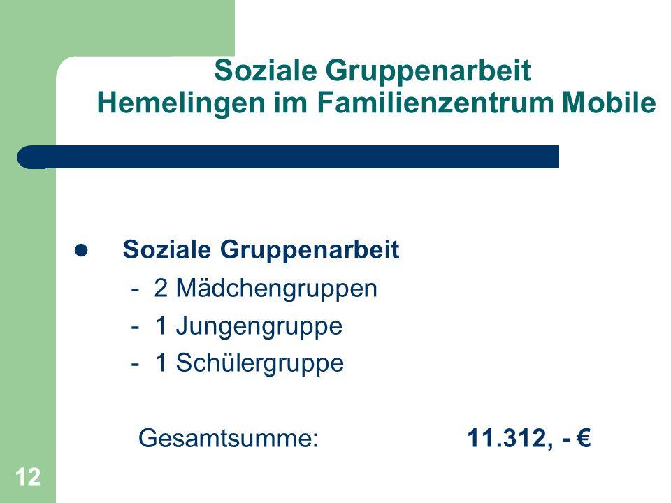 12 Soziale Gruppenarbeit Hemelingen im Familienzentrum Mobile Soziale Gruppenarbeit - 2 Mädchengruppen - 1 Jungengruppe - 1 Schülergruppe Gesamtsumme: