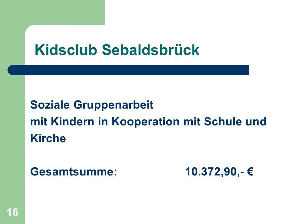 16 Kidsclub Sebaldsbrück Soziale Gruppenarbeit mit Kindern in Kooperation mit Schule und Kirche Gesamtsumme: 10.372,90,-
