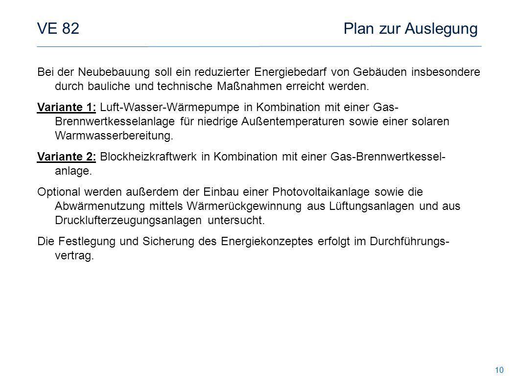 10 VE 82 Plan zur Auslegung Bei der Neubebauung soll ein reduzierter Energiebedarf von Gebäuden insbesondere durch bauliche und technische Maßnahmen e