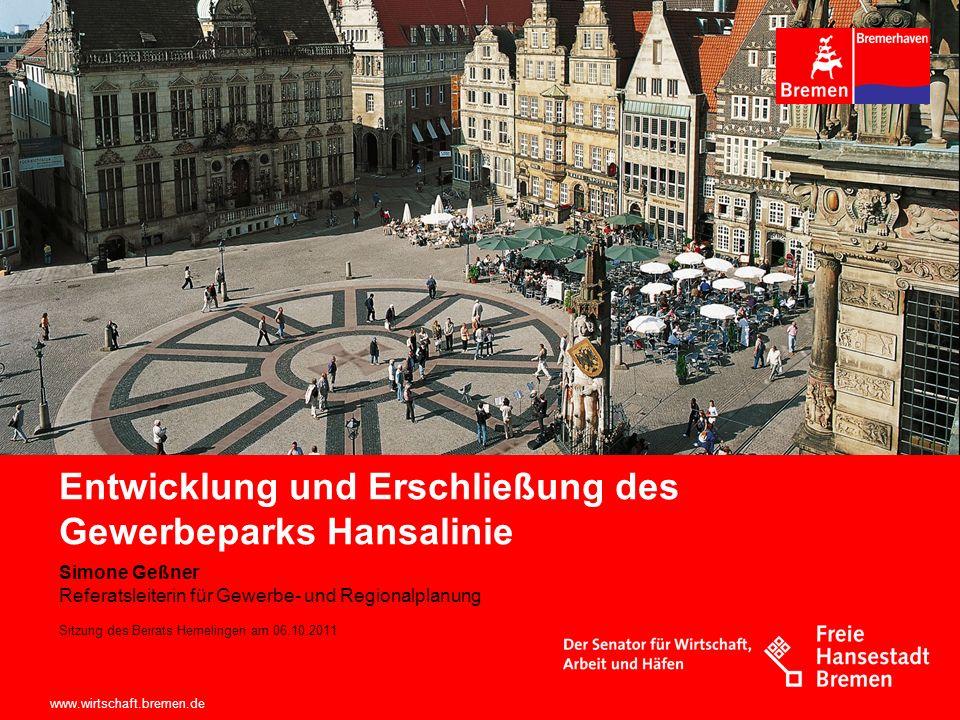 www.wirtschaft.bremen.de Sitzung des Beirats Hemelingen am 06.10.2011 Rahmenplan Der städtebauliche Rahmenplan zur Erweiterung des Gewerbeparks Hansalinie wurde am 21.03.2000 durch den Senat beschlossen.
