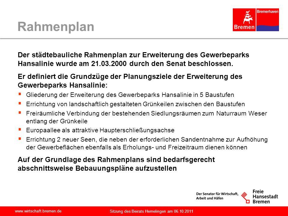 www.wirtschaft.bremen.de Sitzung des Beirats Hemelingen am 06.10.2011 Rahmenplan Der städtebauliche Rahmenplan zur Erweiterung des Gewerbeparks Hansal