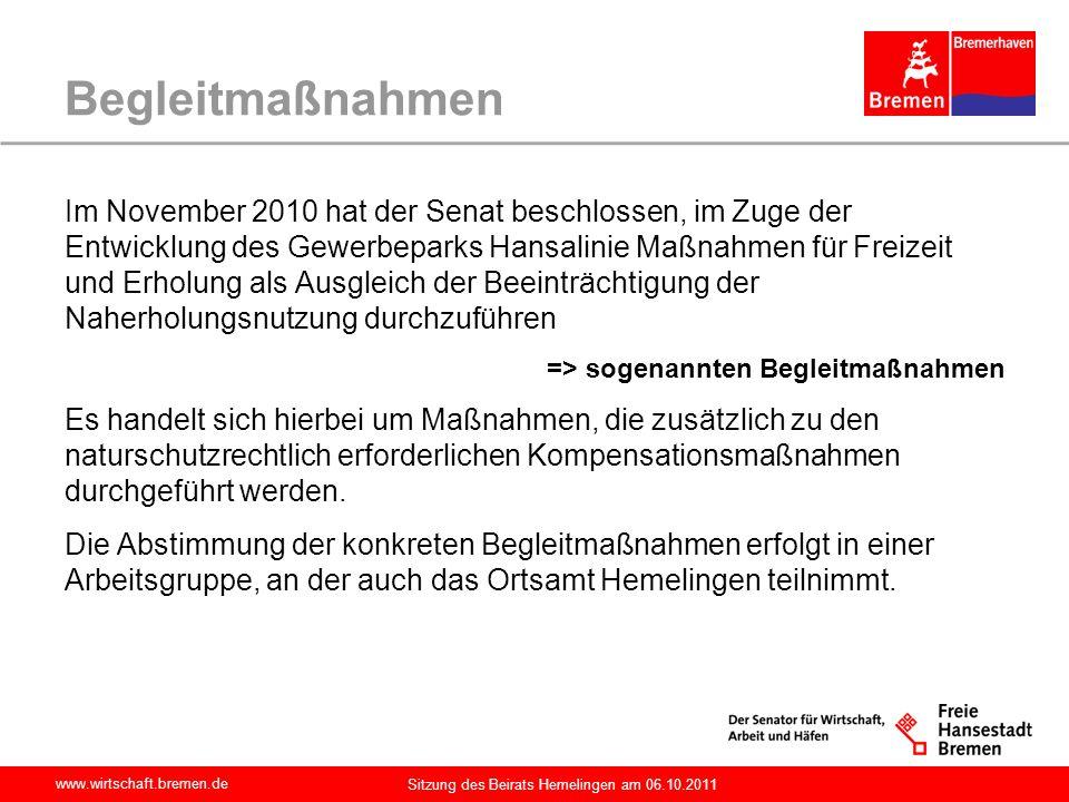 www.wirtschaft.bremen.de Sitzung des Beirats Hemelingen am 06.10.2011 Bebauungsplan 2255 Der seit dem 06.06.2005 rechtsverbindliche Bebauungsplan 2255 umfasst die Baustufen 1 und 2 sowie die entsprechenden Ausgleichsflächen.