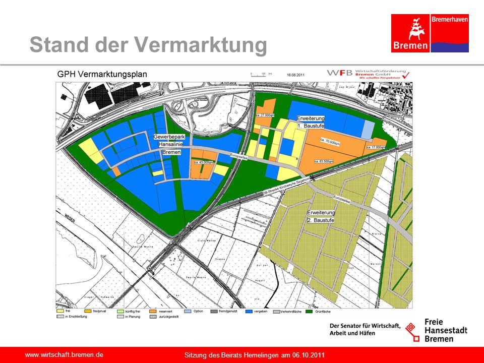 www.wirtschaft.bremen.de Sitzung des Beirats Hemelingen am 06.10.2011 Bisherige Ansiedlungsergebnisse Ansiedlung erfolgt entsprechend der im Bebauungsplan getroffenen Festsetzungen zur Art der Nutzung Aktuell sind 72 Unternehmen im Gewerbepark Hansalinie mit rd.
