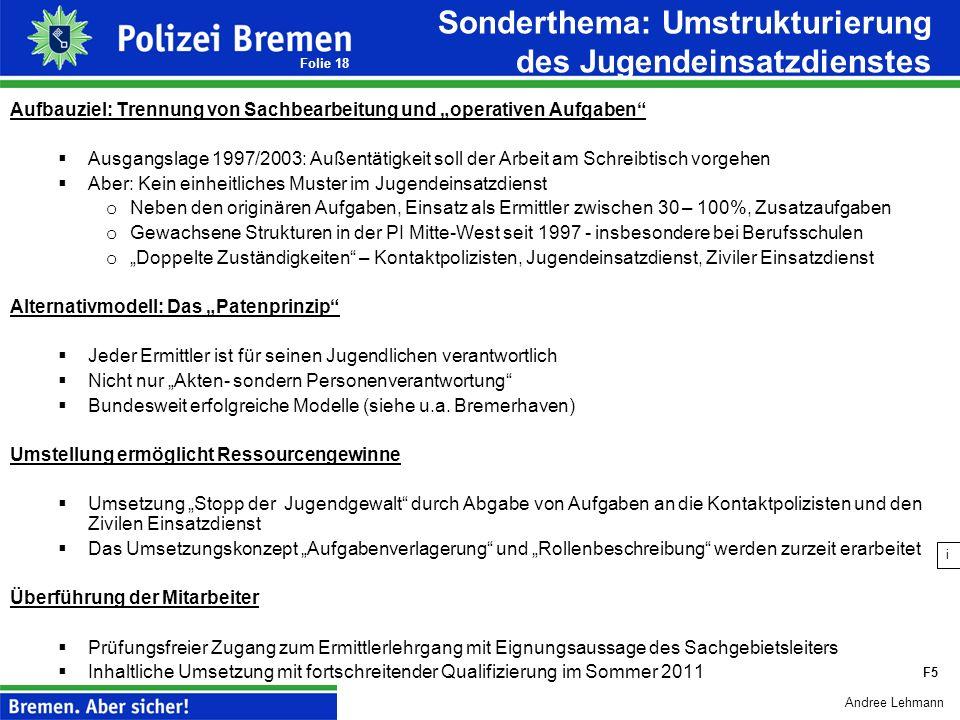 Andree Lehmann Folie 17 1.Steuerungsdefizite im Bereich der Polizeikommissariate Keine Belastungsgerechtigkeit zwischen den Polizeikommissariaten Kein