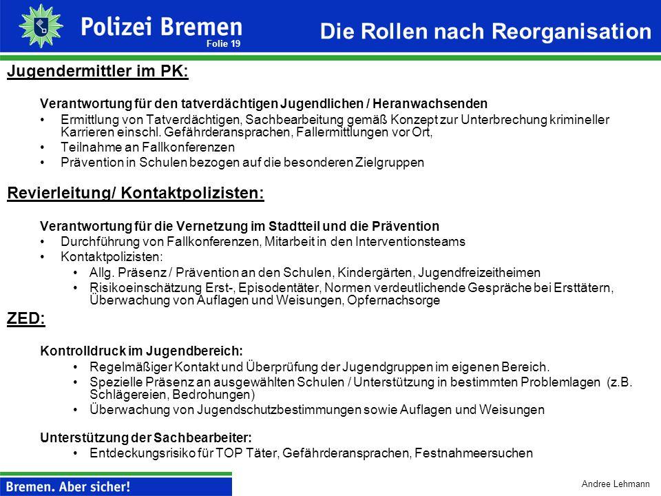 Andree Lehmann Folie 18 Sonderthema: Umstrukturierung des Jugendeinsatzdienstes Aufbauziel: Trennung von Sachbearbeitung und operativen Aufgaben Ausga
