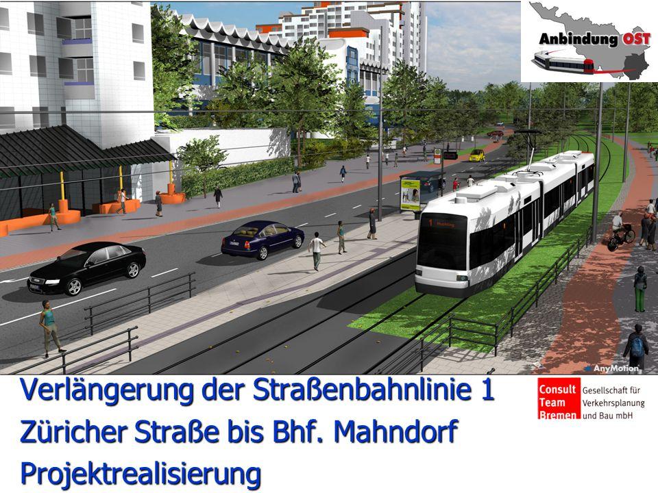 Verlängerung der Straßenbahnlinie 1 Züricher Straße bis Bhf. Mahndorf Projektrealisierung Start