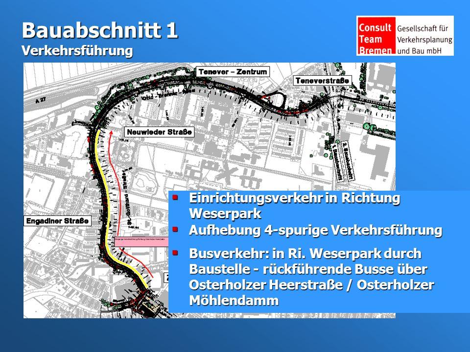 Bauabschnitt 1 Verkehrsführung Einrichtungsverkehr in Richtung Weserpark Einrichtungsverkehr in Richtung Weserpark Busverkehr: in Ri.